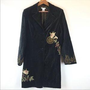 CABI antoinette from paris embroidered velvet coat